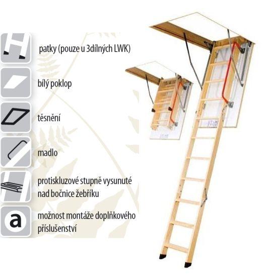 FAKRO LWK KOMFORT - 280 60 x 100 cm 4-dílné Půdní schody