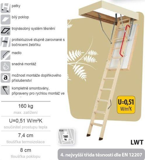 FAKRO LWT THERMO 280 60 x 120 cm Skládací půdní schody zateplené